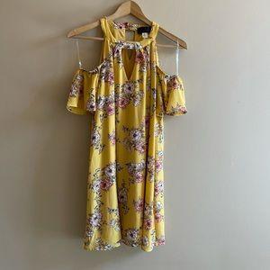 Blue Rain yellow floral tank dress M